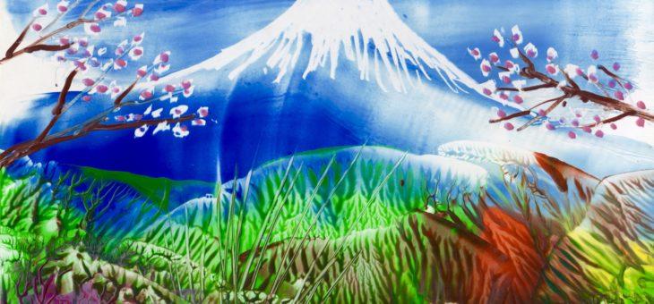 Энкаустика: Урок 2 «Рисуем горы утюгом» Фудзияма