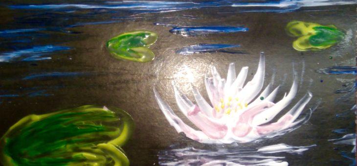 Мастер-класс по энкаустике: Рисуем лилии утюгом
